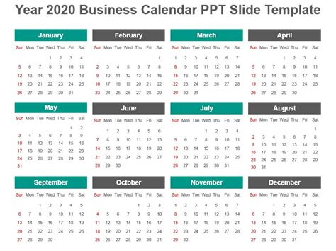 year business calendar template