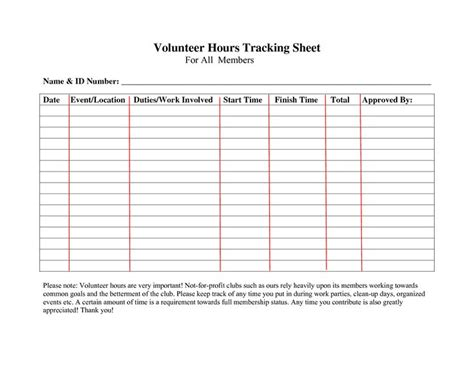volunteerhourslogsheettemplate forms community