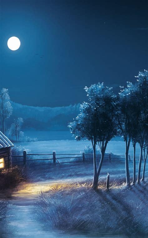 landscape night moon stars full hd  wallpaper