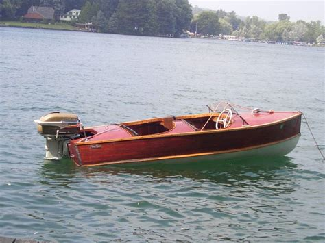 Old Boat Guy by 1954 Penn Yan Captivator Mahogany Wooden Boat Antique