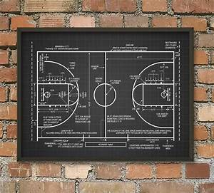 Basketball Court Schematic Diagram Wall Art Poster By Quantumprints On Etsy  Null
