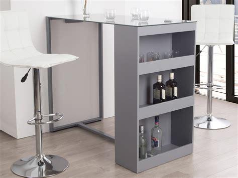 table bar rangement cuisine table de bar avec rangement et plateau en verre trempé h