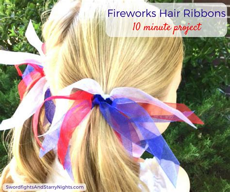 Fireworks Hair Ribbons Patriotic Red White Blue 4th Of July