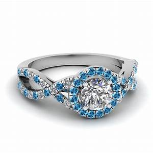 entwined halo diamond engagement ring with blue topaz in With wedding rings with blue