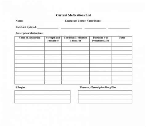 medication list form cover sheet