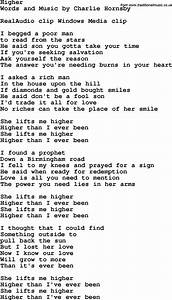 Country Southern And Bluegrass Gospel Song Higher Lyrics