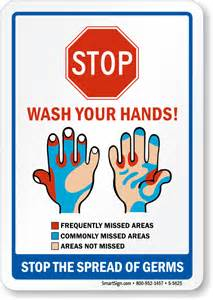 Stop Germs Wash Your Hands Sign