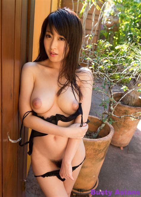 Busty Asian Arisa Misato Posing Outdoors In Lingerie
