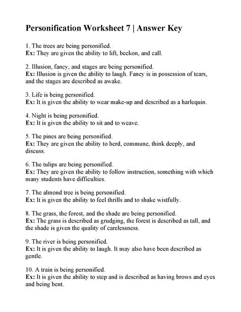Personification Worksheet 7 Answers