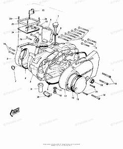 Kawasaki Motorcycle 1973 Oem Parts Diagram For Engine Covers   U0026 39 73