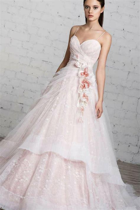 pink  white wedding dress