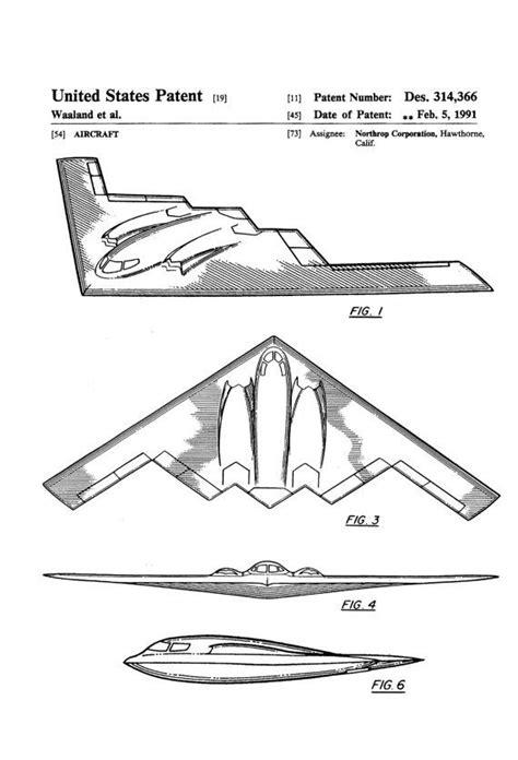 B-2 Bomber Patent - Airplane Blueprint, Aviation Art