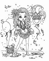 Gras Mardi Coloring Pages Mask Celebration Beads Carnival Comedy Sassy Popular sketch template