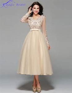 vestido de noiva curto vintage lace tea length short With long sleeve champagne wedding dress