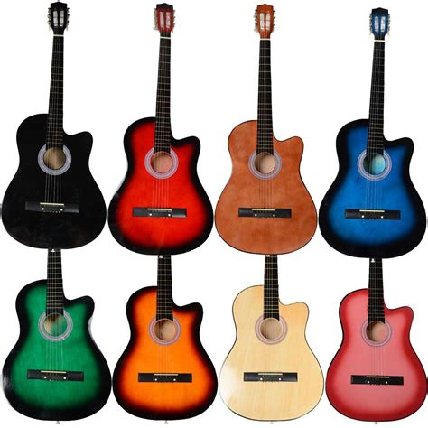new 8 different color 38 inch cutaway acoustic guitar set