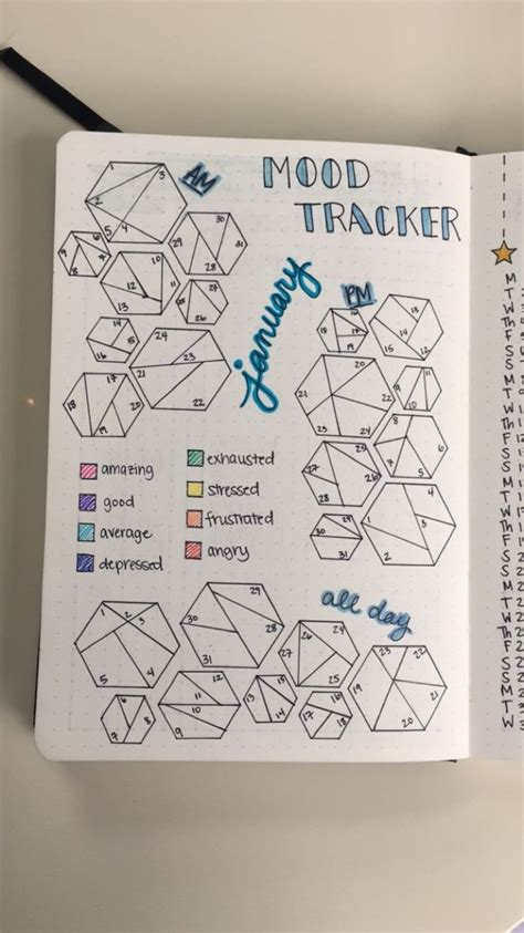 january  monthly mood tracker  morning afternoon