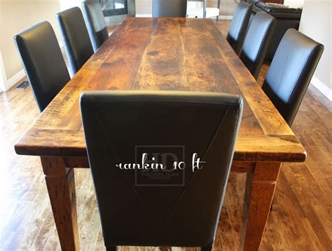 10 ft reclaimed wood harvest table with black leather