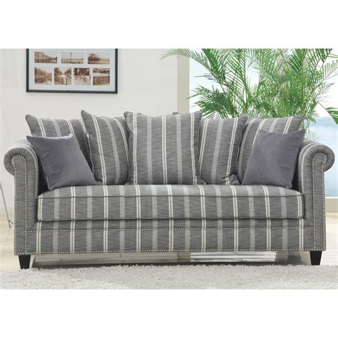 Striped Sofas emerald home maddox grey striped sofa with 2 pillows at
