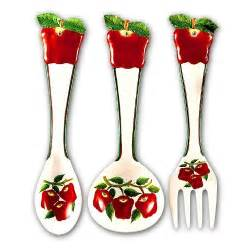 amazon com apple large 17 quot spoon fork wall decor set