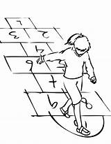 Hopscotch Coloring Pages Hop Template Hopping Sketch Goes Bad Spring Play sketch template