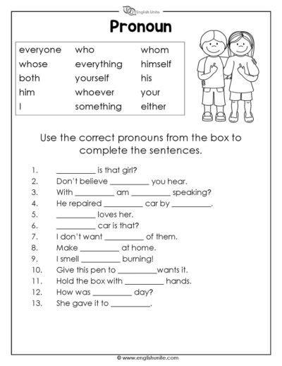 parts of speech worksheet unite