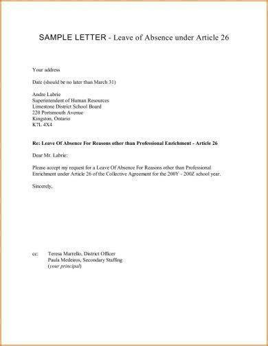 official letter  leave examples  examples