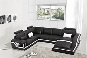 T271 Modern Black Leather Sectional Sofa Sofas Couches