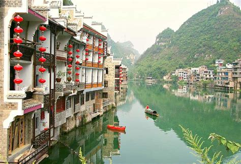 china white wall zhenyuan ancient town guizhou top ancient town china top
