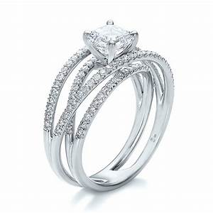 custom pave diamond multi band engagement ring 100612 With wedding rings with diamond band