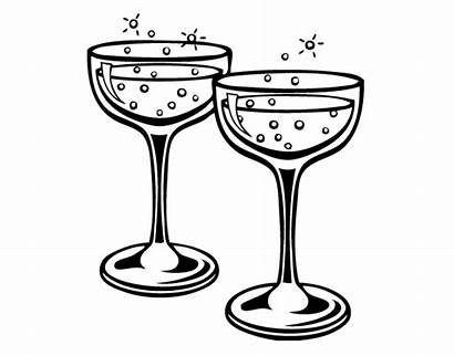 Champagne Glasses Glass Drawing Coloring Painting Layered