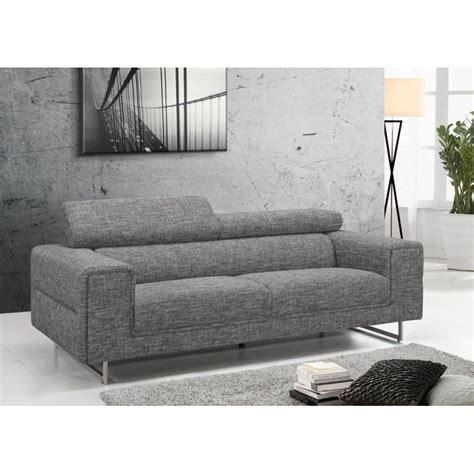 canapé droit design canapé droit design 3 places mario en tissu gris clair chiné