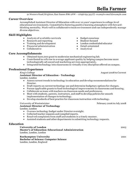 resume for personal assistant to director assistant director resume exles education resume sles livecareer