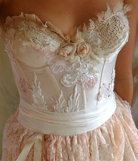 shabby chic fairytale pearl bustier gown wedding dress boho whimsical by jadadreaming fable s creations