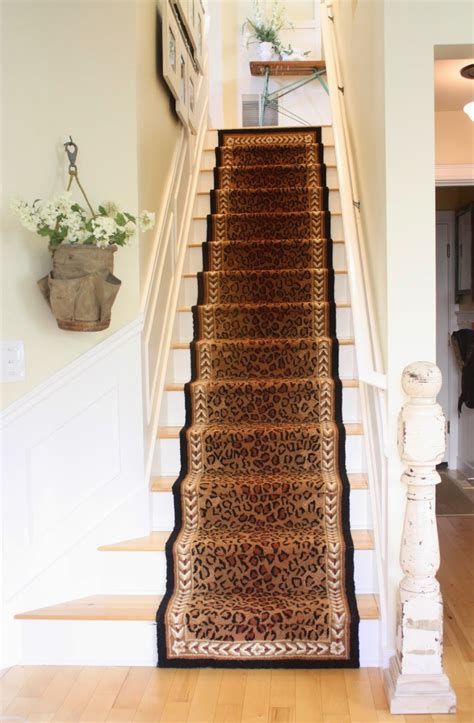 stair straight stair design with brown printed leopard motif runner carpet of combine with light