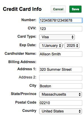 Online free credit card numbers. How do I update my billing information?