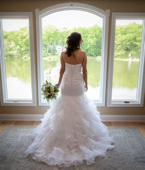 beautiful ruffle wedding dress  lace   worn