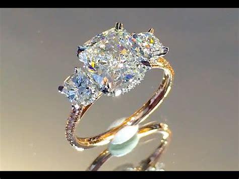 3 carat Cushion Cut Diamond 3-Stone Engagement Ring - YouTube