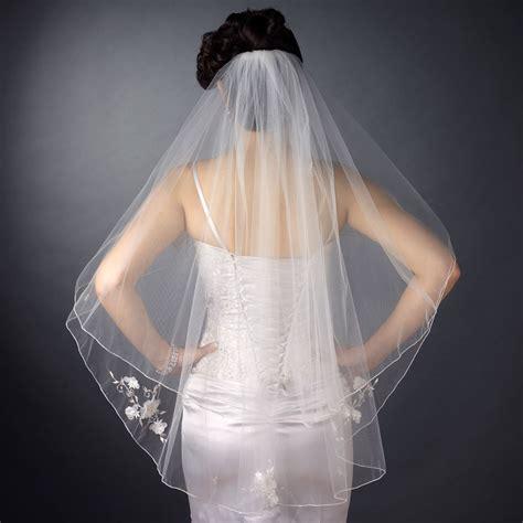 Sheer Organza Floral Fingertip Veil Elegant Bridal Hair