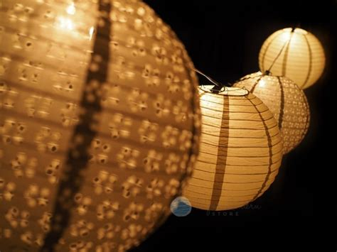 gold eyelet paper lantern string light