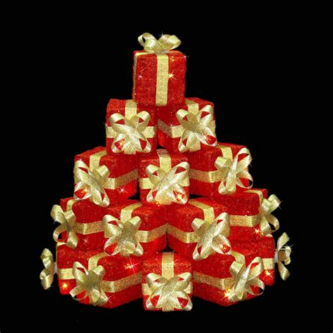 festive light  gift box stack christmas decoration red