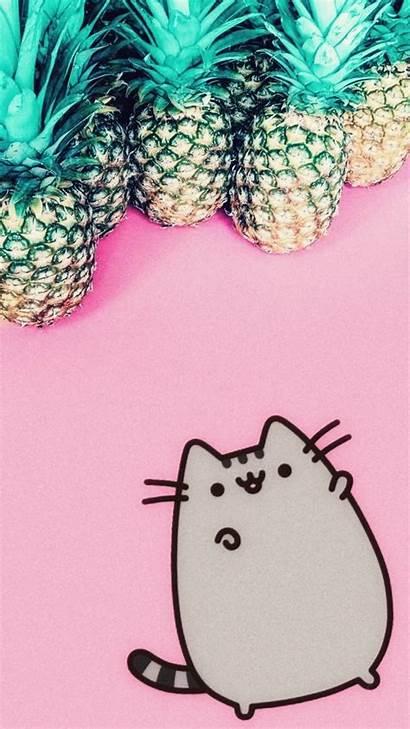 Pusheen Cat Kawaii Backgrounds Phone Wallpapers Iphone