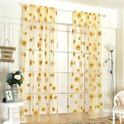 Fenta Door Window Sheer Sunflower Floral Drape Panel