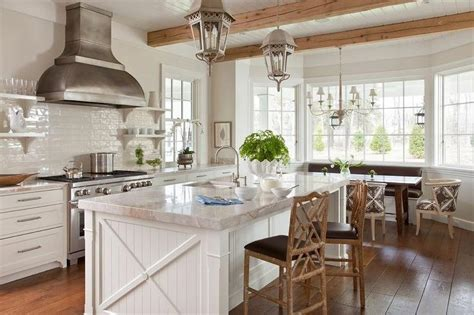 white beadboard kitchen island  faux bamboo counter stools transitional kitchen