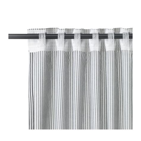ikea gulsporre curtains white grey stripe pattern new