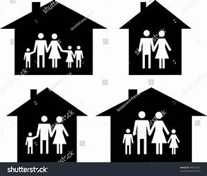 Silhouette Family Icon And House. Conceptual Vector ...