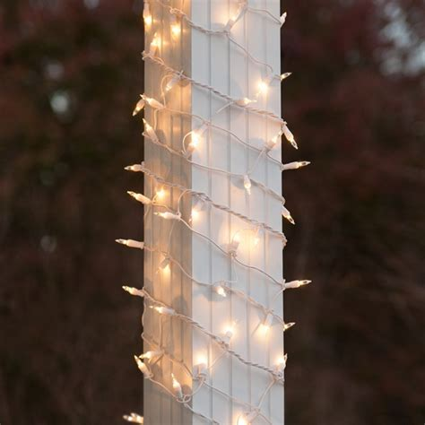 christmas column wrap net lights 6 quot x 15 column wrap lights 150 clear ls white wire