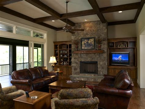 Stone Fireplace Designs Family Room Craftsman With Ceiling