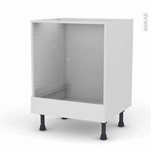 Meuble Bas Cuisine Blanc : meuble de cuisine bas four ginko blanc bandeau bas l60 x ~ Teatrodelosmanantiales.com Idées de Décoration