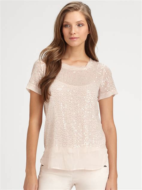 sequin blouses dkny sequin blouse in pink lyst