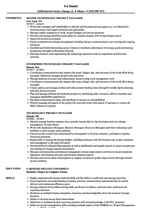 Project Lead Resume Sle by Technology Project Manager Resume Sles Velvet